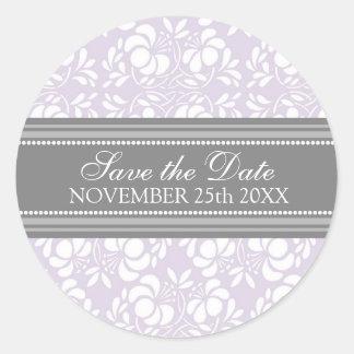 Reserva del damasco de la lila el sello del sobre pegatina redonda