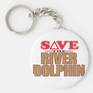 Reserva del delfín de río llavero redondo tipo pin