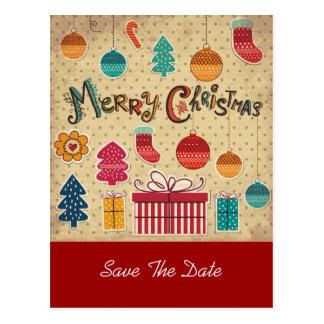 Reserva del día de fiesta de las Felices Navidad Tarjeta Postal