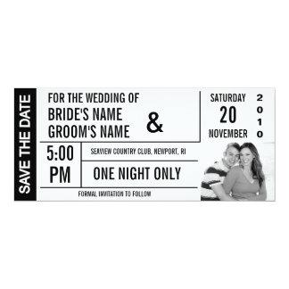 """Reserva del diseño del boleto las tarjetas de la invitación 4"""" x 9.25"""""""