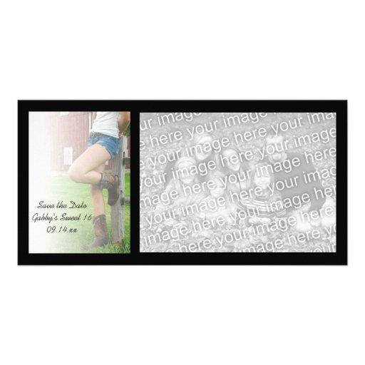Reserva del dulce 16 del fiesta del granero la tar tarjeta fotografica personalizada