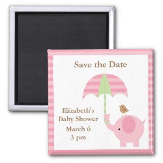 Reserva del elefante rosado los imanes de la fecha imán cuadrado