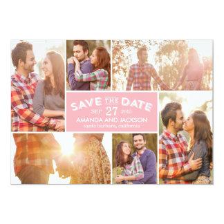 Reserva del escaparate de la foto la fecha - rosa invitación 12,7 x 17,8 cm
