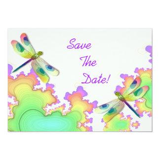 """Reserva del fractal de la libélula la fecha invitación 5"""" x 7"""""""