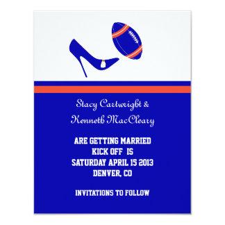 Reserva del fútbol del azul real y del naranja la invitación 10,8 x 13,9 cm