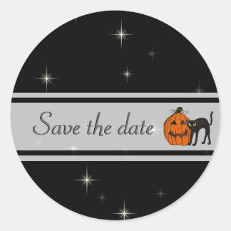 Reserva del gato negro los pegatinas de la fecha pegatina redonda