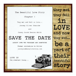 Reserva del gay de la máquina de escribir del invitación 13,3 cm x 13,3cm