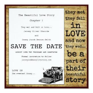 """Reserva del gay de la máquina de escribir del invitación 5.25"""" x 5.25"""""""