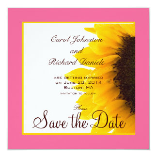 """Reserva del girasol el amarillo del rosa de las invitación 5.25"""" x 5.25"""""""
