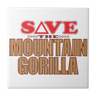 Reserva del gorila de montaña azulejo cuadrado pequeño