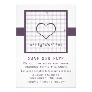 Reserva del gráfico de la matemáticas de Purple He Invitacion Personal