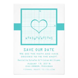 Reserva del gráfico de la matemáticas del corazón invitación