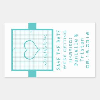 Reserva del gráfico de la matemáticas del corazón pegatina rectangular