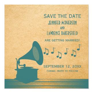 Reserva del gramófono del vintage del trullo que invitación 13,3 cm x 13,3cm
