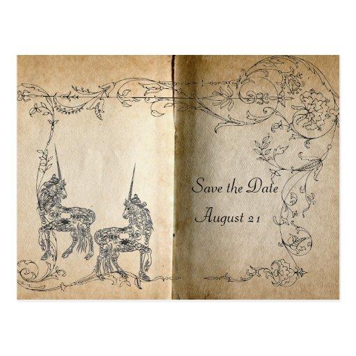 Reserva del guión del unicornio la fecha postal
