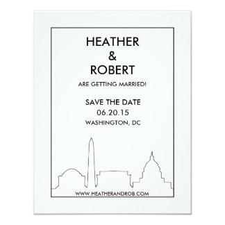 """Reserva del horizonte del Washington DC la fecha Invitación 4.25"""" X 5.5"""""""