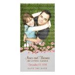 Reserva del jardín de la flor de cerezo la foto de plantilla para tarjeta de foto