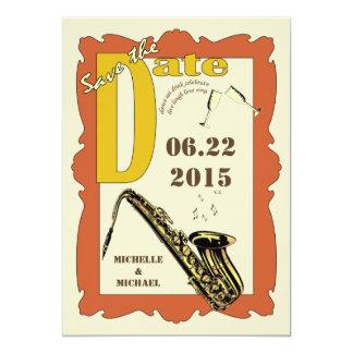 Reserva del jazz del estilo del vintage la fecha invitación 12,7 x 17,8 cm