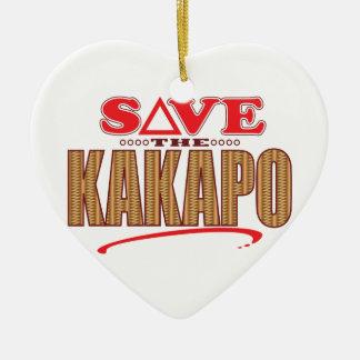 Reserva del Kakapo Adorno Navideño De Cerámica En Forma De Corazón