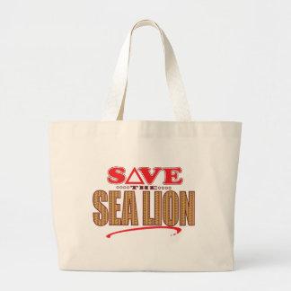 Reserva del león marino bolsa tela grande
