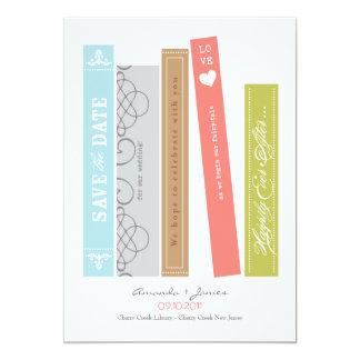 """Reserva del libro de la biblioteca la fecha invitación 5"""" x 7"""""""
