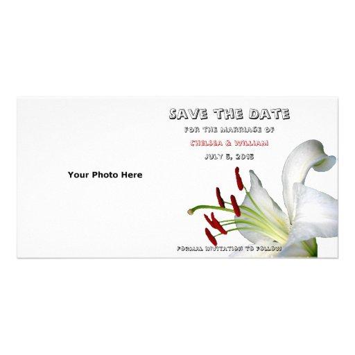 Reserva del lirio, blanca y del rojo las tarjetas tarjetas con fotos personalizadas