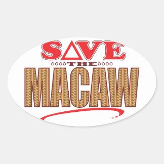 Reserva del Macaw Pegatina Ovalada