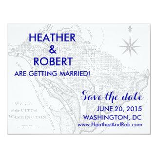 """Reserva del mapa del Washington DC la fecha (mapa Invitación 4.25"""" X 5.5"""""""