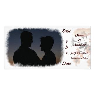 Reserva del melocotón de la luz suave las tarjetas plantilla para tarjeta de foto