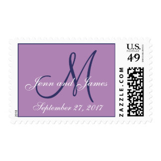 Reserva del monograma el boda púrpura de la fecha envio