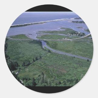 Reserva del nacional de la bahía de Siletz Pegatina Redonda