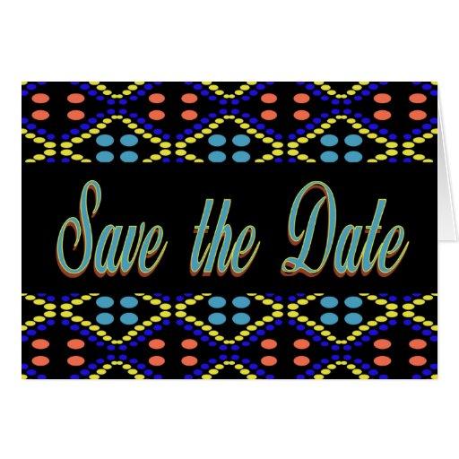 reserva del negro de la turquesa la fecha tarjeta de felicitación