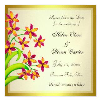 """Reserva del oro de las flores del lirio del invitación 5.25"""" x 5.25"""""""