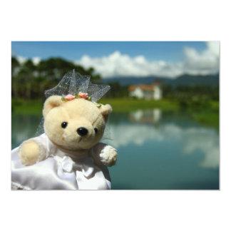 """Reserva del oso de la novia del boda del lago la invitación 5"""" x 7"""""""