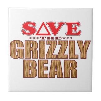 Reserva del oso grizzly azulejo cuadrado pequeño