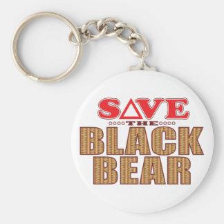 Reserva del oso negro llavero redondo tipo pin
