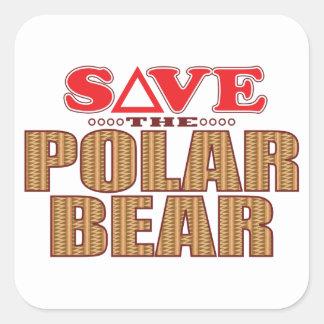 Reserva del oso polar pegatina cuadrada