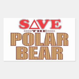Reserva del oso polar pegatina rectangular