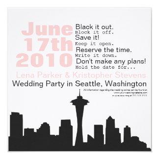 Reserva del paisaje urbano de Seattle la fecha Invitación 13,3 Cm X 13,3cm