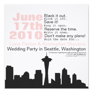 """Reserva del paisaje urbano de Seattle la fecha Invitación 5.25"""" X 5.25"""""""