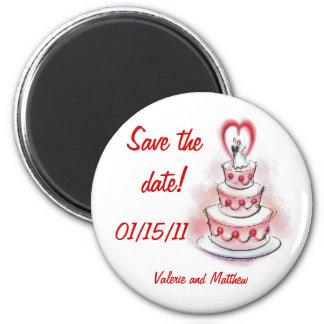 Reserva del pastel de bodas el rojo del imán de la