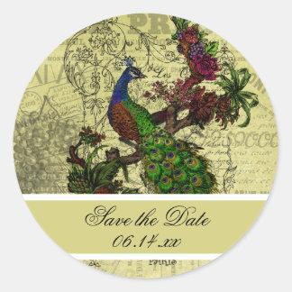 Reserva del pavo real del vintage los pegatinas pegatina redonda