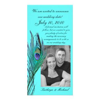 Reserva del pavo real la fecha Photocard Tarjeta Fotografica Personalizada