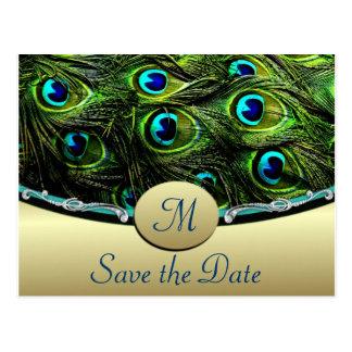 Reserva del pavo real las invitaciones de boda de postal