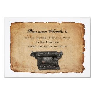 """Reserva del pergamino de la máquina de escribir invitación 3.5"""" x 5"""""""