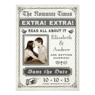 Reserva del periódico del vintage la invitación de invitación 13,9 x 19,0 cm