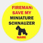 Reserva del personalizado mi Schnauzer miniatura Etiqueta Redonda
