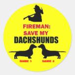 Reserva del personalizado mis Dachshunds Pegatina Redonda