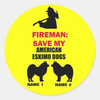 Reserva del personalizado mis perros esquimales pegatina redonda
