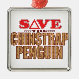 Reserva del pingüino de Chinstrap Adorno Navideño Cuadrado De Metal